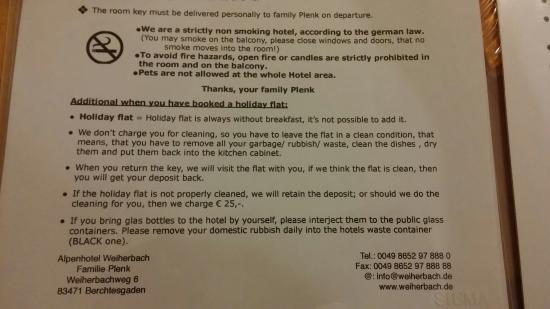 "Alpenhotel ""garni"" Weiherbach : Beware of these regulations before booking"