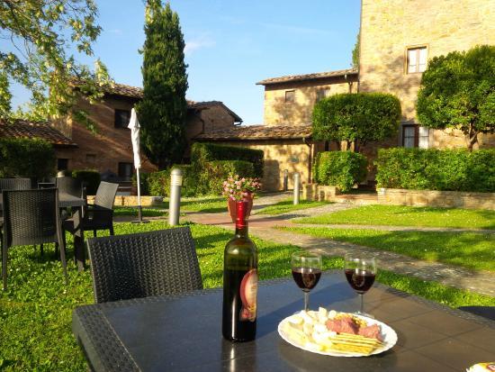 Our wine and charcuterie aperitivo on the Borgo La Casaccia grounds