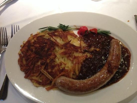 Rebstock Restaurant: Local sausage with hash browns