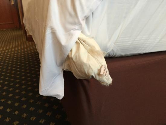 Concorde Hotel Kuala Lumpur: Duvet coming out of the cover looks very old and worn out