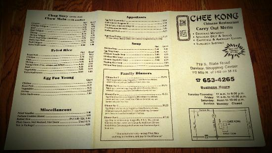 Take out menu picture of chee kong chinese restaurant for Take out menu
