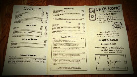 Davison, Мичиган: Take out menu
