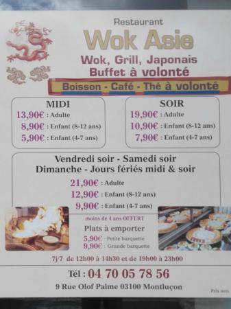 Montlucon, Francia: Wok Asie Montluçon - Fiche tarifs pour menu buffet 2015-05-15