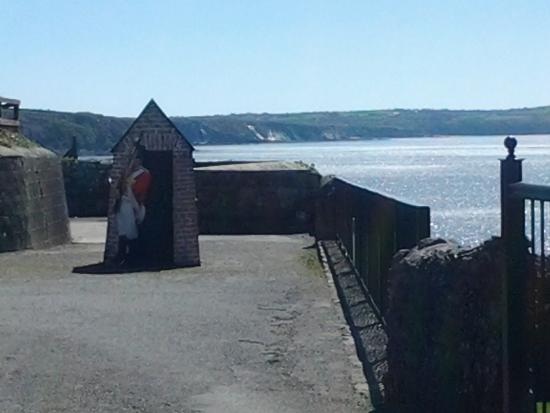 Duncannon Fort Visitor Centre: cutout sentry hanging out of his box!