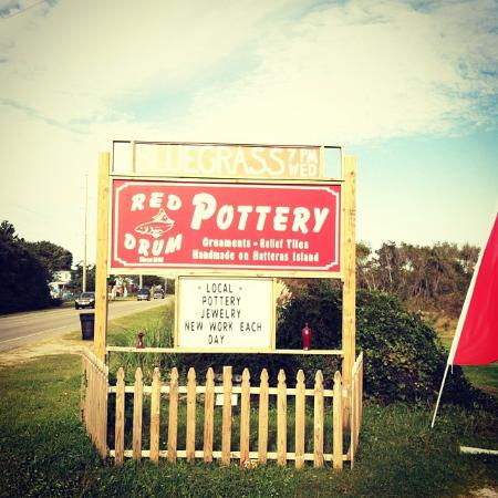 Watch for the Red Drum Pottery sign as you drive Hwy. 12 through Frisco.