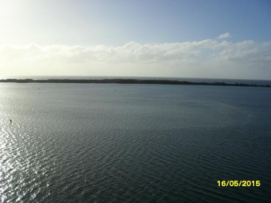 Gemini Resort: From our main balcony...Pumicestone Passage and Bribie Is.