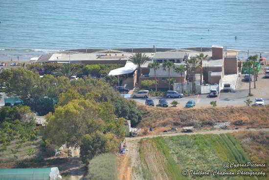 Kourion Beach: Chris Blue Beach - most modern and most expensive restaurant at Curium Beach.