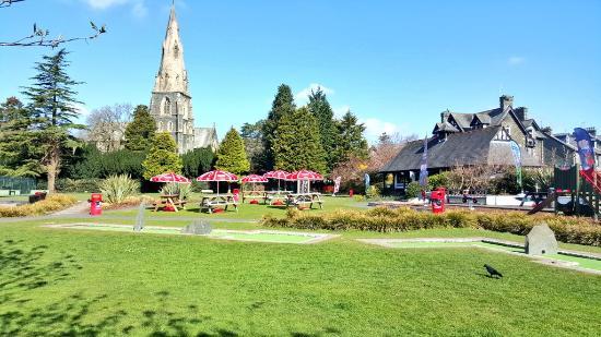 White Platts Recreation Ground: seating, bowling green, church