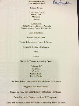 Cabana Buenavista: menú