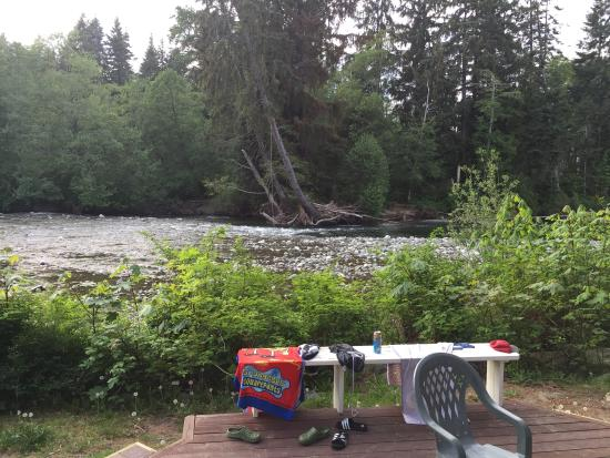 Pacific Playgrounds International RV Park, Cottages, Marina: View from deck at cabin.