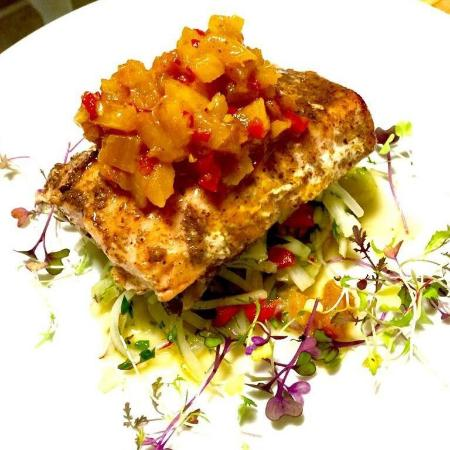 Sheffield, IL: Salmon with Pineapple Chutney and Slaw