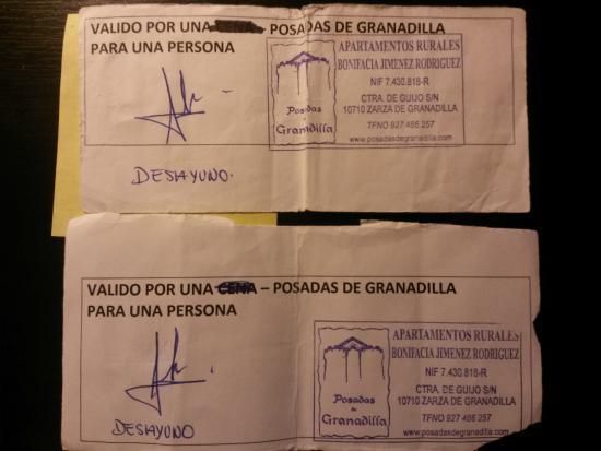 Posadas de Granadilla : Bonos de desayuno ajados por el uso...