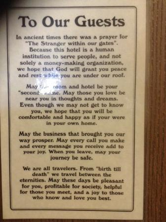 Holiday Inn Roswell: To Our Guests statement on the back of our room door
