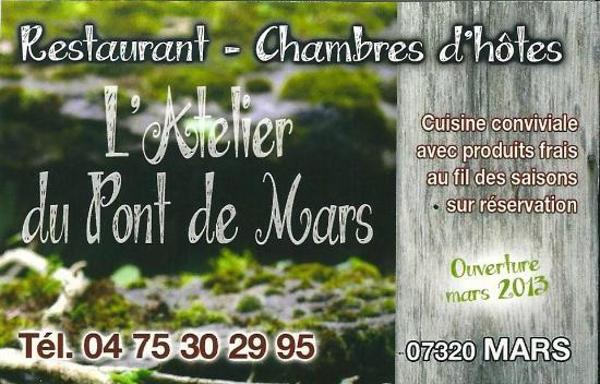 LAtelier Du Pont De Mars Carte Visite