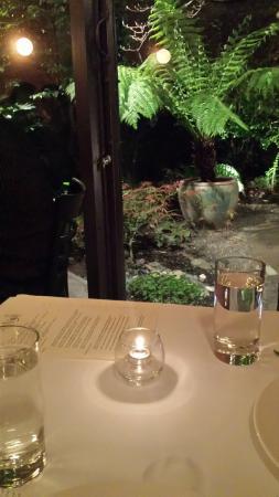 Rivoli Restaurant: corner table next to garden
