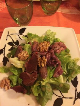 Restaurant Le Tourny : Ensalada con mollejas de pato en vinagreta de frambuesa