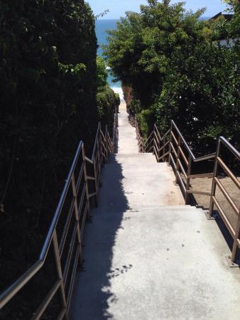 Table Rock Beach: The trek down to the beach.