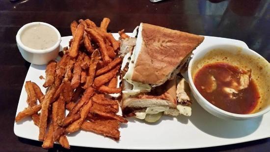 Yard House: Cuban pork sandwich and sweet potato fries