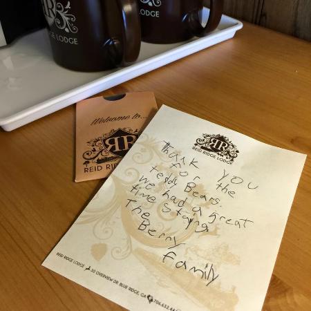 Reid Ridge Lodge: Note left by my son