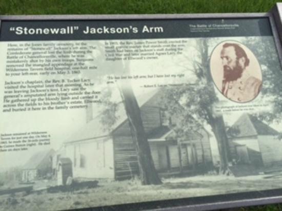 Grave of Stonewall Jackson's Arm: Plaque at Gravestone