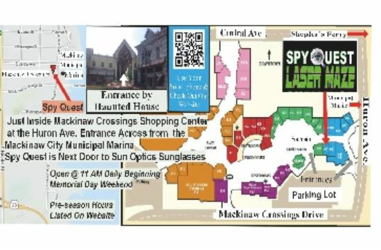Map to Spy Quest - Picture of Spy Quest Laser Maze, Mackinaw ... Mackinaw City Map on tawas map, united states map, st. ignace map, ironwood map, kalkaska map, cheboygan map, sault ste. marie map, petoskey state park map, gaylord map, dearborn map, holt mi map, port of indiana map, city of petoskey street map, canon city riverwalk trail map, mackinac island map, mackinac county map, michigan map, superior map, peninsula township map, ypsilanti map,