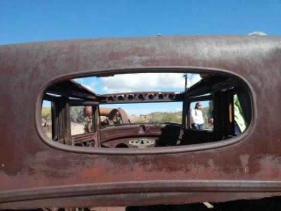Vulture Gold Mine: Rusted 1938 Hudson Automobile and View