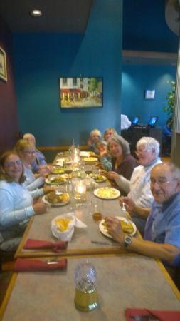 Mykonos Greek Restaurant: Earthdog Friends enjoying a Greek Dinner