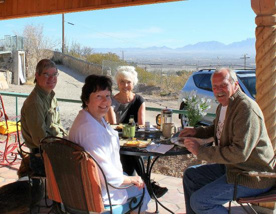 A Lodge on the Desert: Breakfast with Owners Laverne & Calvin on our Patio