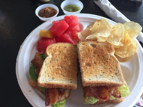 Eats Port A: Yummy BLT with avocado, nice homemade hot sauce too.