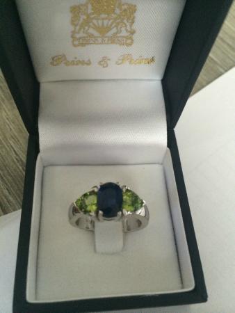 Prins & Prins: Sapphire and Peridot custom engagement ring