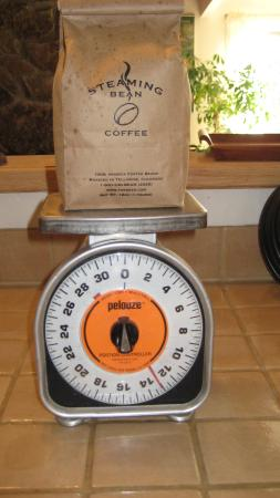 Steaming bean coffee co: My home scale, the bag o' beans.