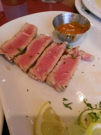 Pomodoro Grill: Yellowfin Tuna with Sriracha Sauce (half eaten)