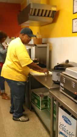 Larry's  Hot Tamales: Cutting up the rib tips