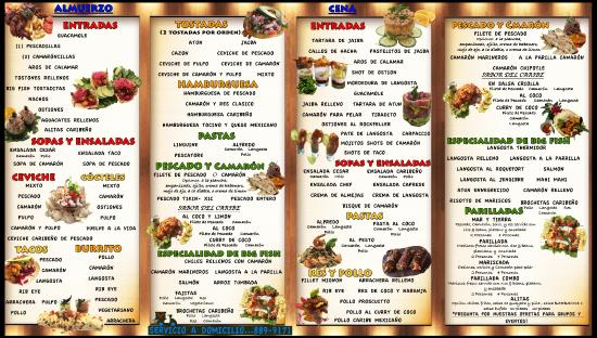 Our new revised menu picture of big fish seafood for Fish grill menu