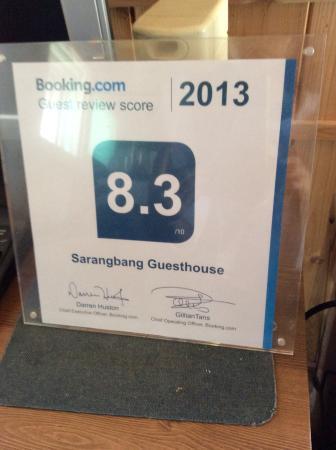 Sarangbang: Award from bookings.com