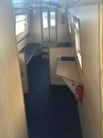 Inside a 10 person day boat, plenty of room for a group of 10 people ...
