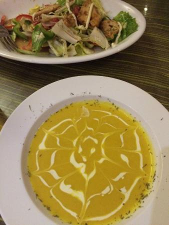 Pumpkin soup & M Bistro salad