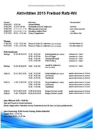 Badi Rafz Wil Kiosk: Saison 2015 Aktivitäten