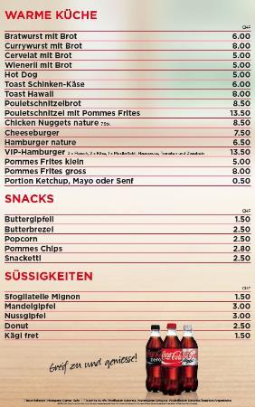 Badi Rafz Wil Kiosk: Speise und Getränke Karte 2
