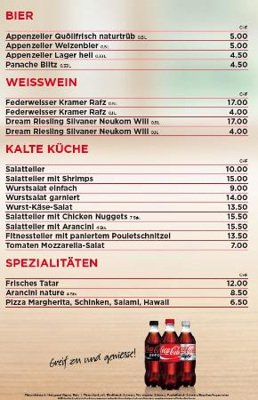 Speise und Getränke Karte 1 - Picture of Badi Rafz Wil Kiosk, Rafz ...