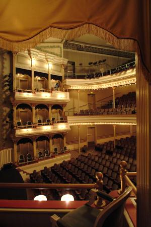 View of Emily Woodruff Hall at the Springer Opera House from a box seat.