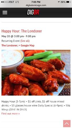 The Londoner: Happy Hour specials advertised on DigBR.com