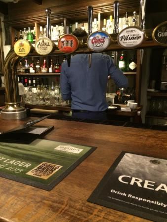 Lovely bar with quick service, plenty of seating in the Gun pub. Great menu for all