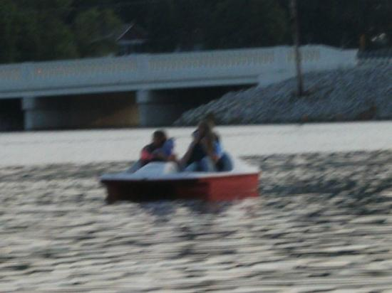 Monticello, IN: Always fun on the paddle boat, provided by Bay Side.