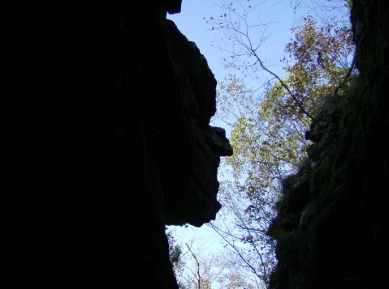 West Fork, AR: This is the Devil's face from a large crevice on one of the main trails. The angle has to be per