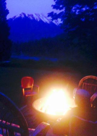 Whispering Falls Resort: one of many firepits, all with stunning views.