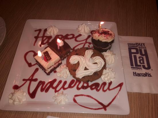 Harrah's Joliet: Anniversary suprise from the staff at the Forever Fabulous Flavors Buffet. Thanks all nice touch