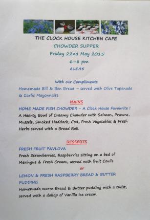 The Clock House: Chowder Supper Menu