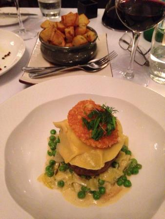 Stamps Restaurant: The beef fillet with prawn ravioli & a pea & leek ragout! Amazing flavours!! And the potato....y