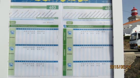 Colares, Portugal: ロカ岬からシントラ&カスカイス行のバス時刻表